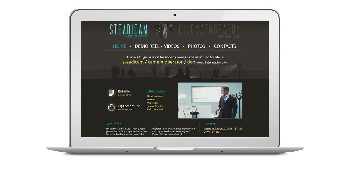 Tomas Riuka homepage design laptop