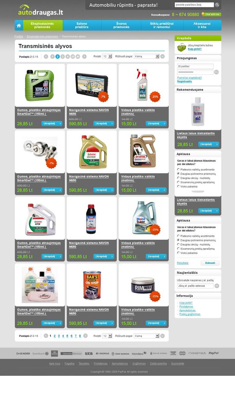 autodraugas.lt website design - inner