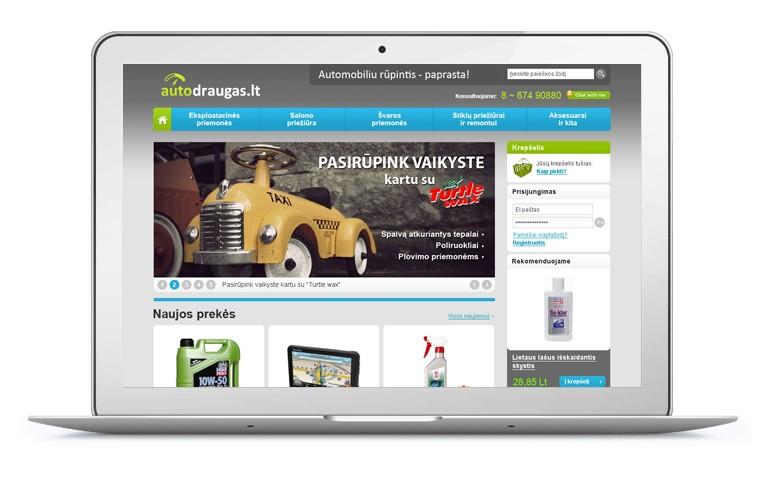 autodraugas.lt website design - laptop home