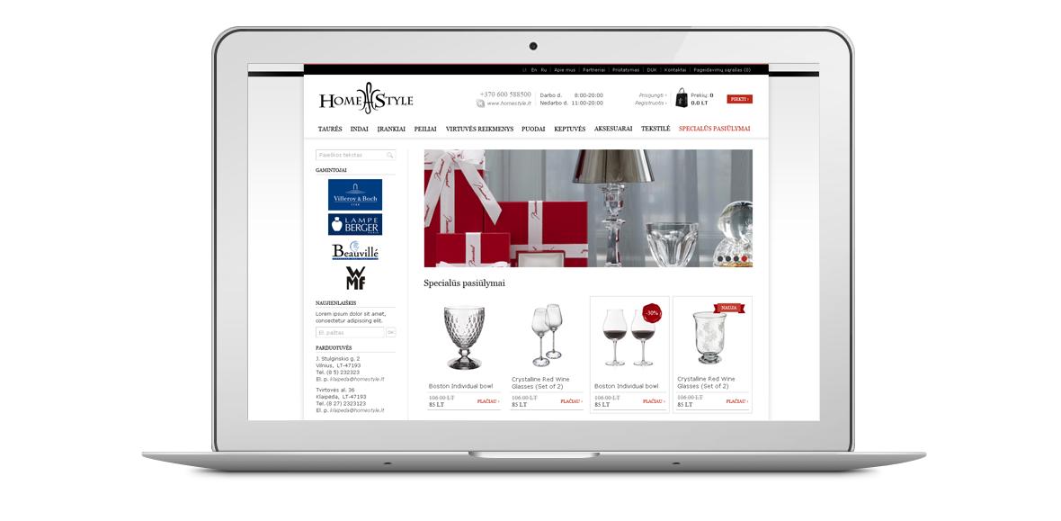 HomeStyle eshop homepage design laptop