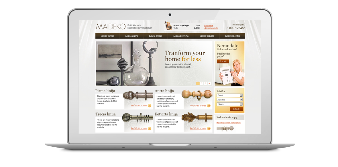 Maideko website homepage design