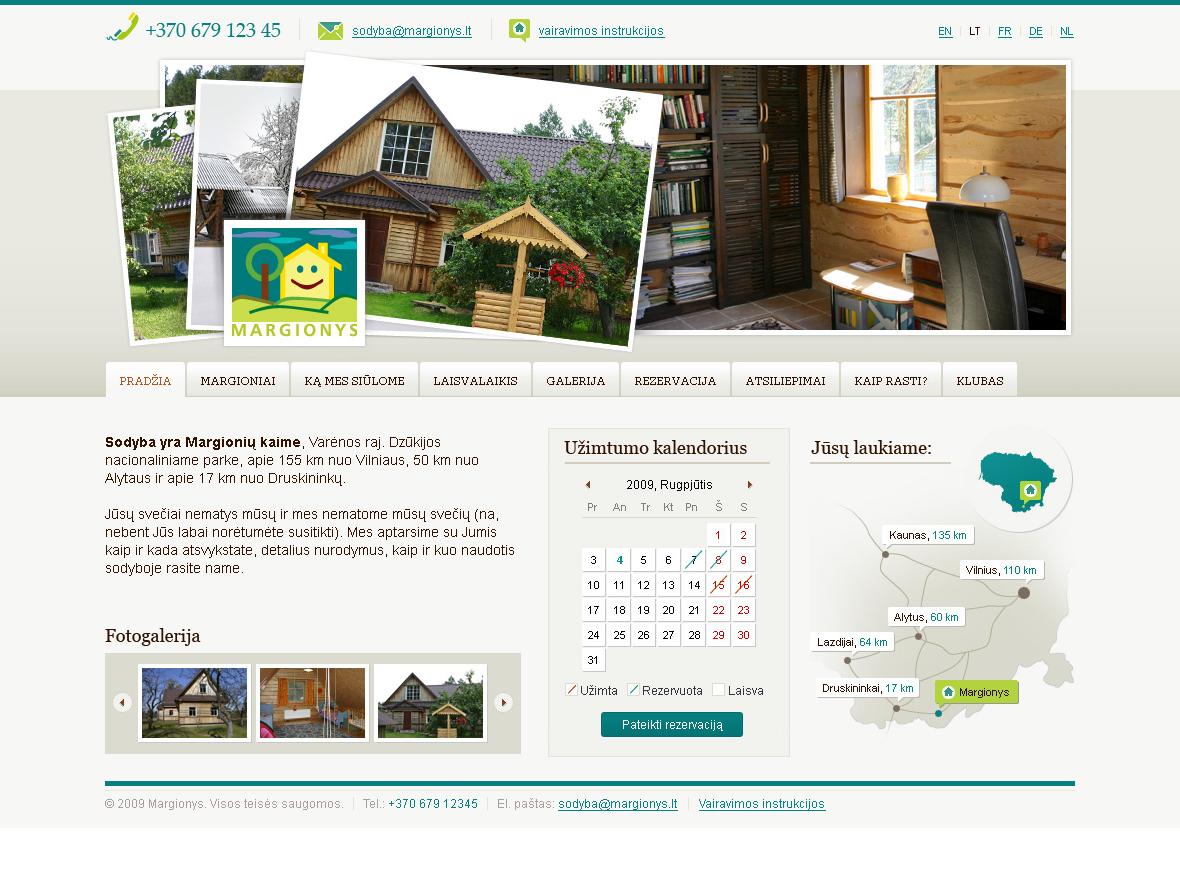 Margionys homepage design