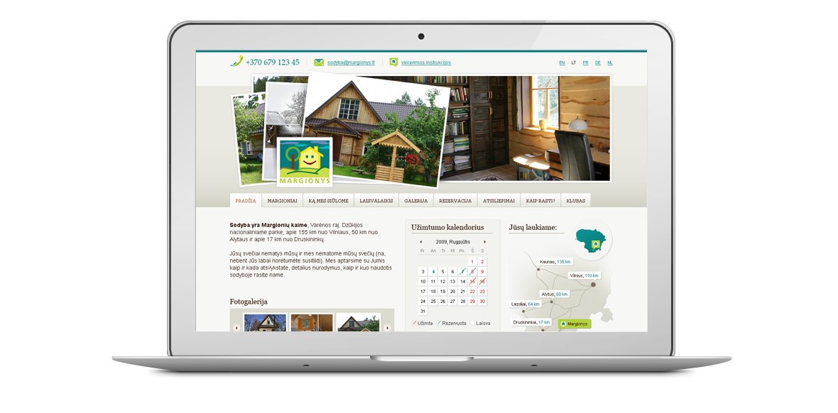 Margionys homepage design laptop
