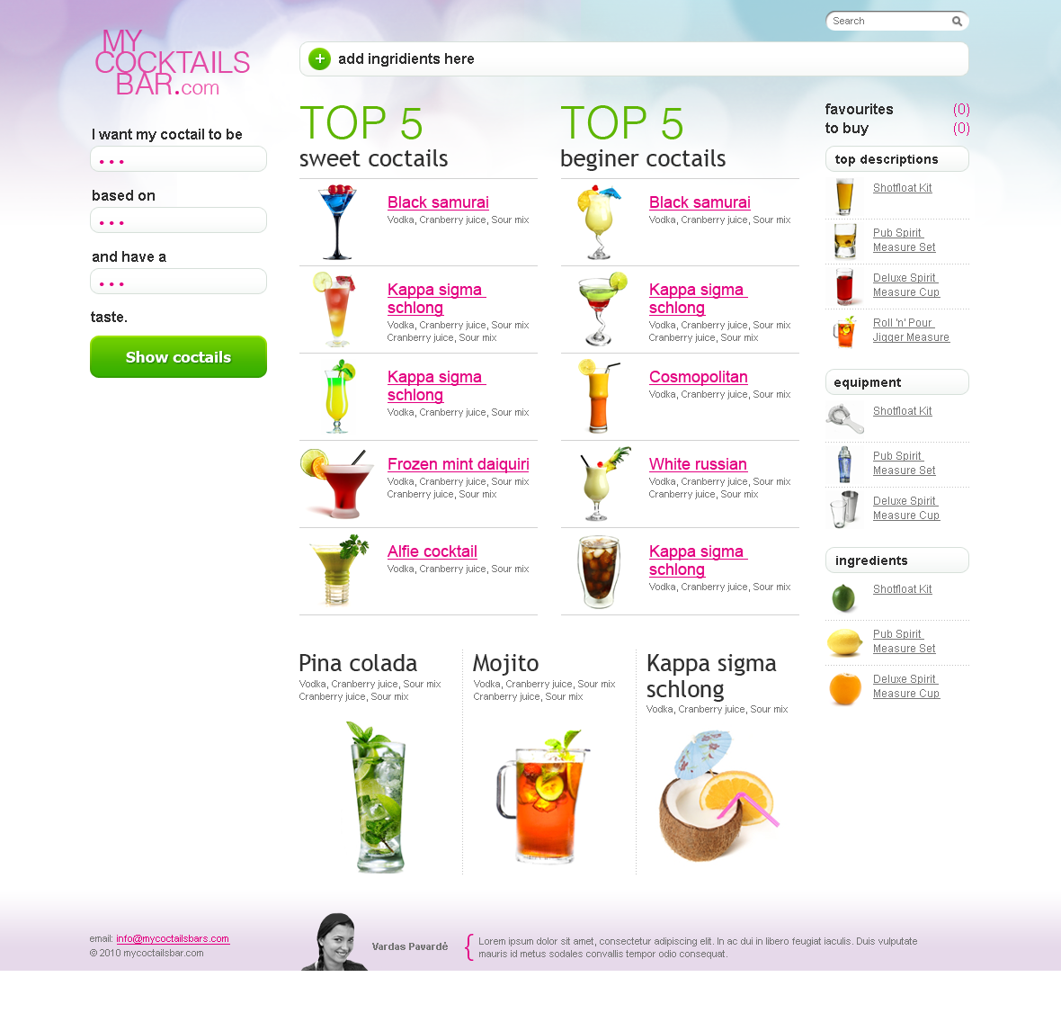 mycocktailsbar web homepage design