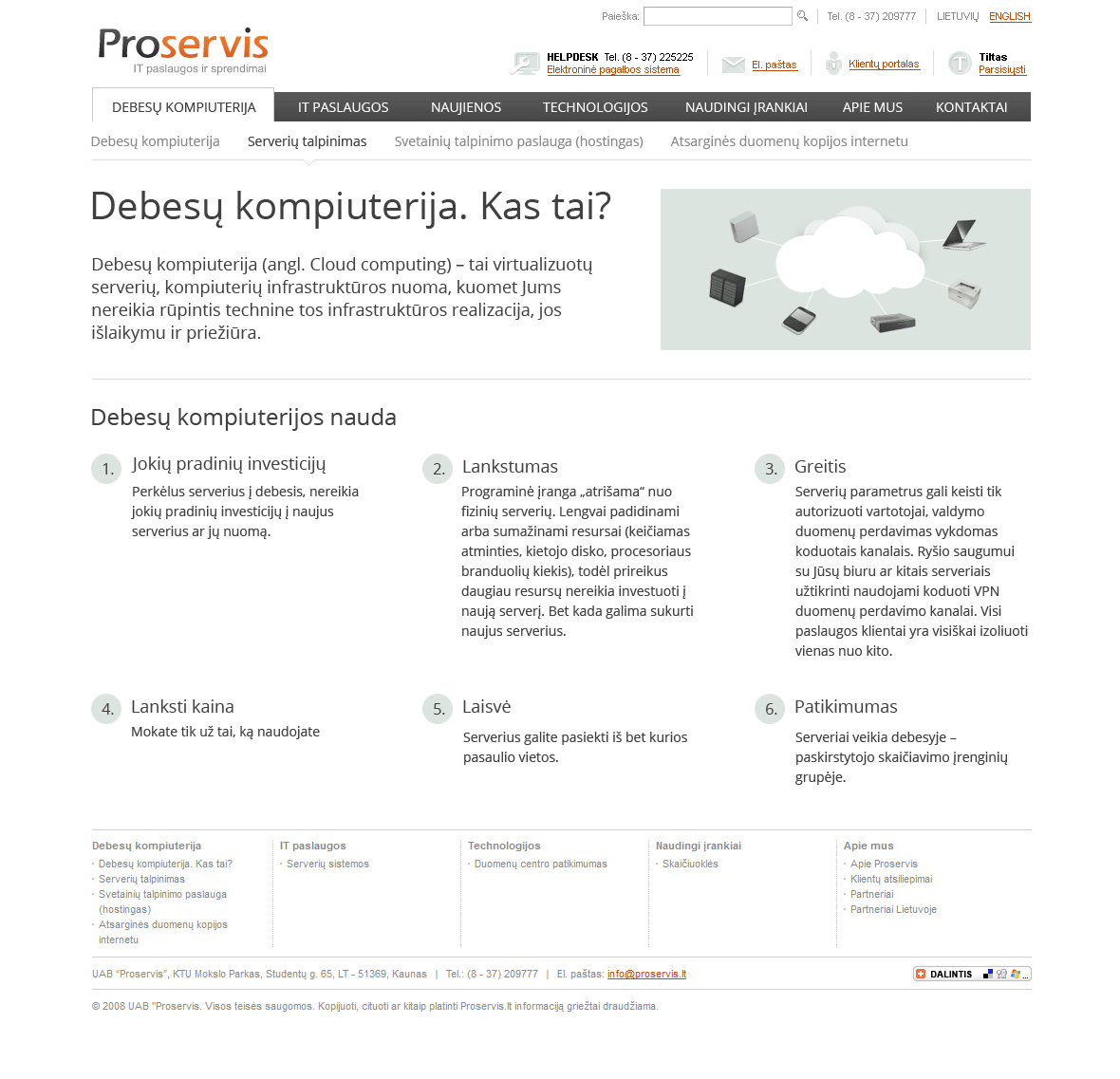 Proservis IT Cloud Computing inner page design