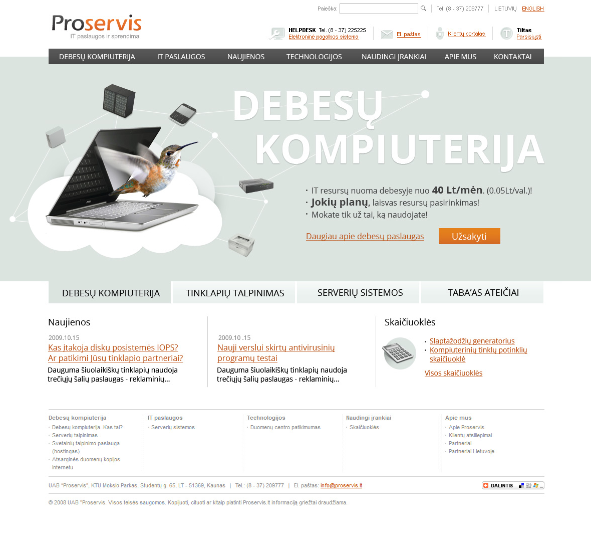 Proservis IT Cloud Computing home page design